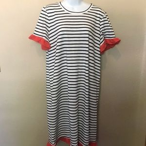 Boden Navy Blue Striped shirt dress orange ruffle